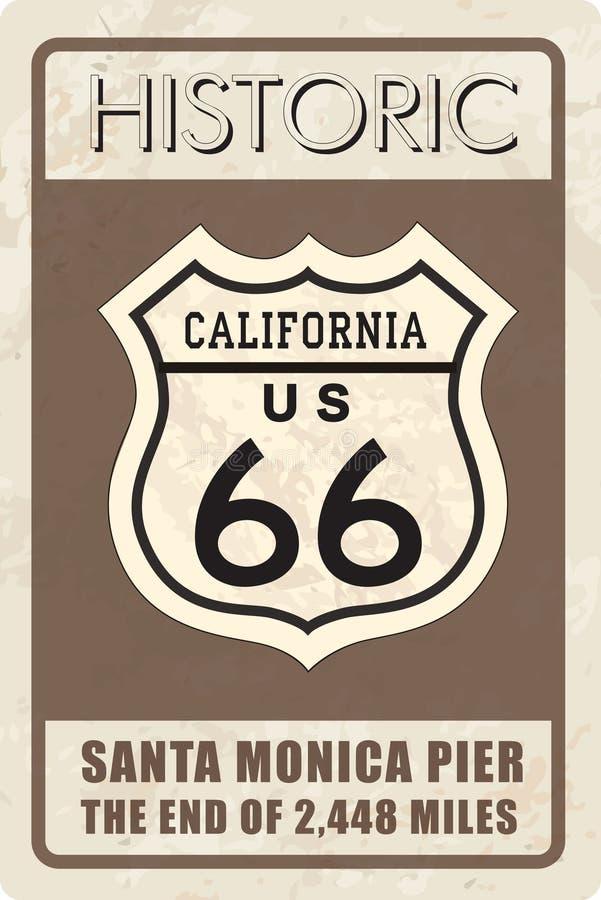 Αναδρομική διαδρομή 66 σημάδι Ιστορικό έμβλημα roud Ταξίδι Καλιφόρνια, ΗΠΑ απεικόνιση αποθεμάτων