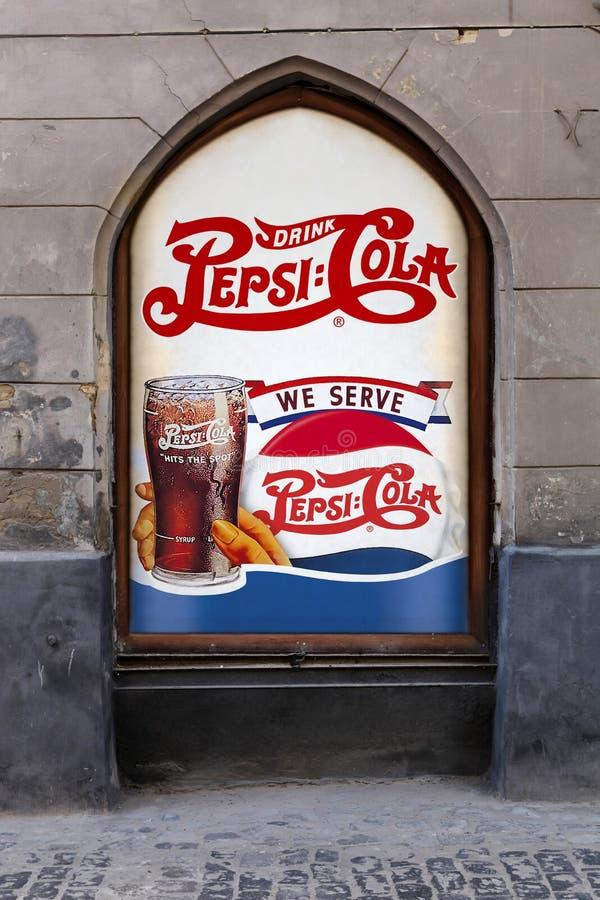 Αναδρομική διαφήμιση της κόλας της Pepsi στοκ εικόνες