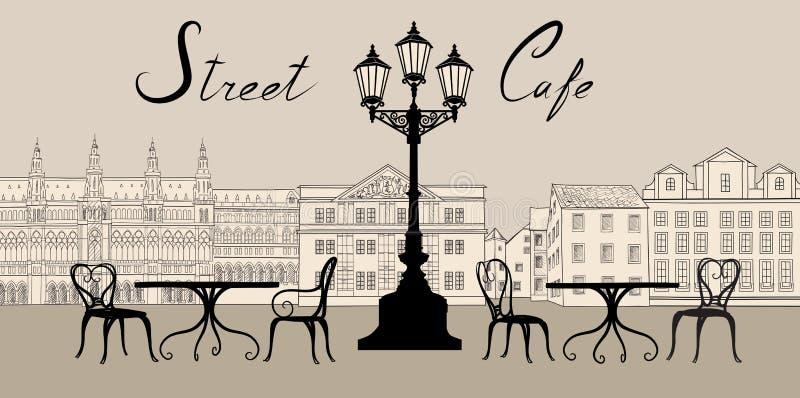 Αναδρομική εικονική παράσταση πόλης με την οικοδόμηση της πρόσοψης Καφές οδών - πίνακας, καρέκλα ελεύθερη απεικόνιση δικαιώματος