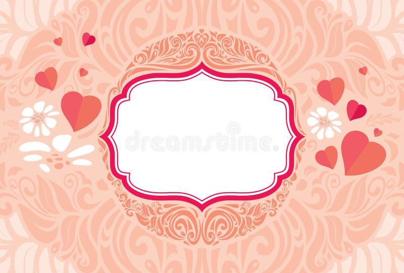 Αναδρομική εκλεκτής ποιότητας εορταστική διανυσματική κάρτα ημέρας βαλεντίνων ` s χαιρετισμού ελεύθερη απεικόνιση δικαιώματος