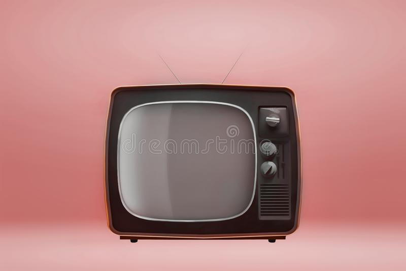 Αναδρομική εκλεκτής ποιότητας TV στο πορτοκαλί υπόβαθρο r διανυσματική απεικόνιση