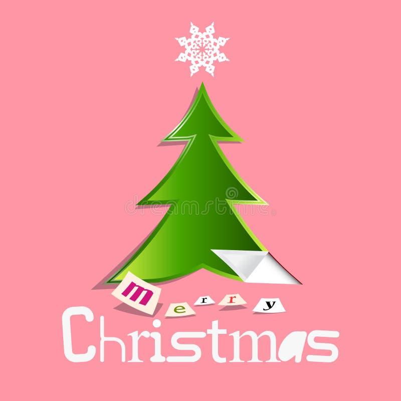 Αναδρομική ευχετήρια κάρτα Χριστουγέννων με το δέντρο περικοπών εγγράφου ελεύθερη απεικόνιση δικαιώματος