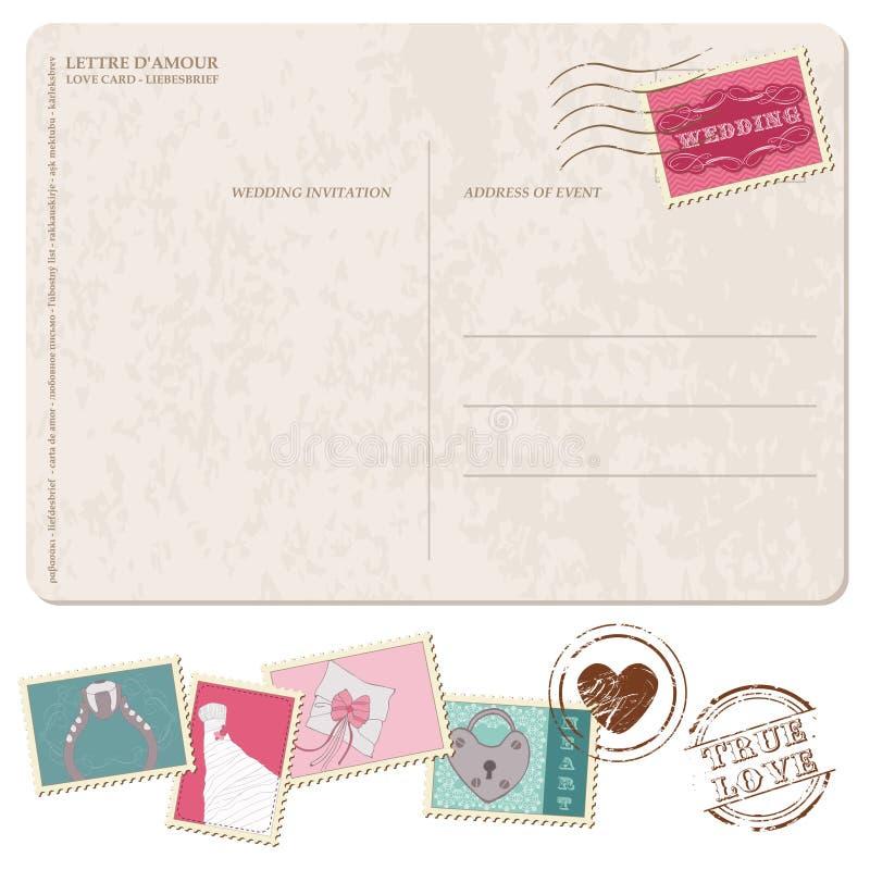 Αναδρομική κάρτα γαμήλιας πρόσκλησης, με τα γραμματόσημα ελεύθερη απεικόνιση δικαιώματος