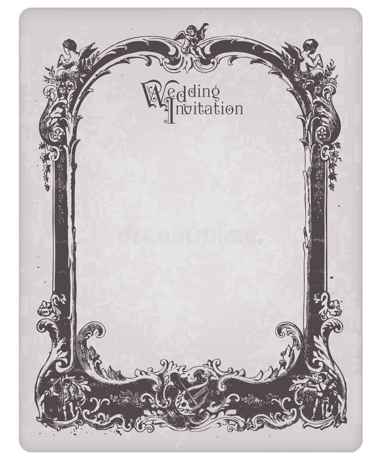 Αναδρομική κάρτα γαμήλιας πρόσκλησης με το πλαίσιο διανυσματική απεικόνιση