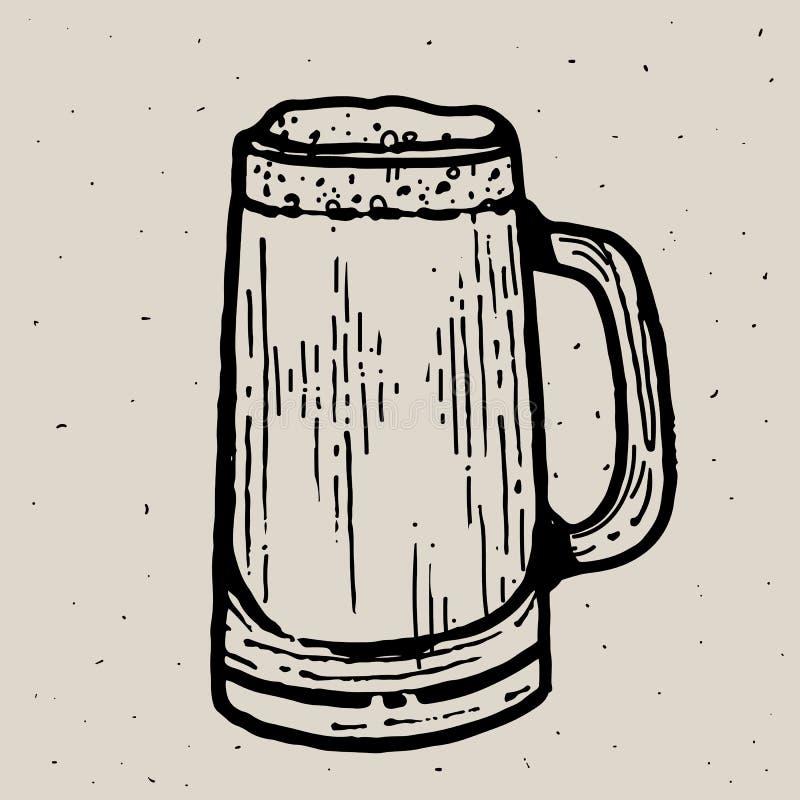 Αναδρομική κούπα μπύρας ύφους ή χάραξη γυαλιού Τοπικό ζυθοποιείο Εκλεκτής ποιότητας διανυσματική απεικόνιση χάραξης για τον Ιστό, διανυσματική απεικόνιση