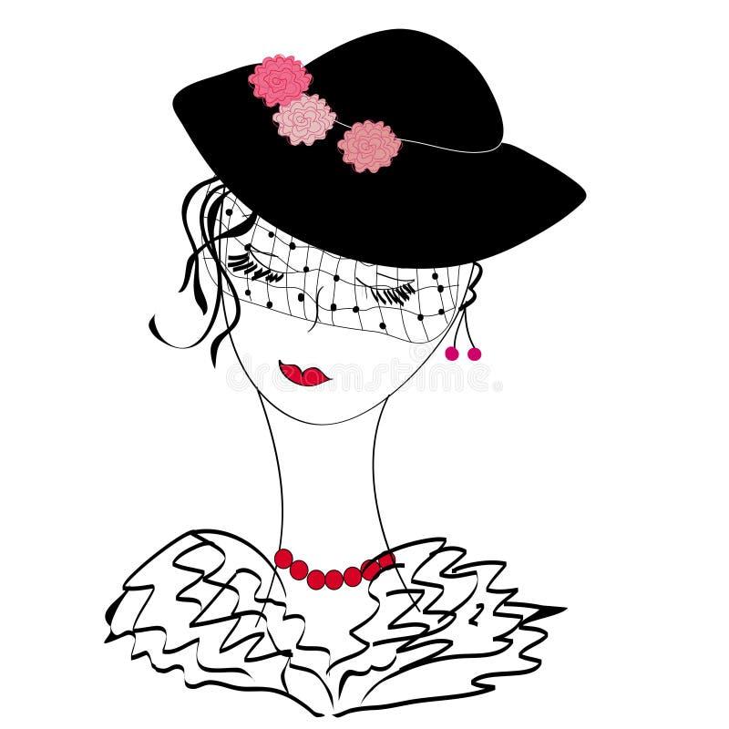 Αναδρομική κυρία σε ένα καπέλο διανυσματική απεικόνιση