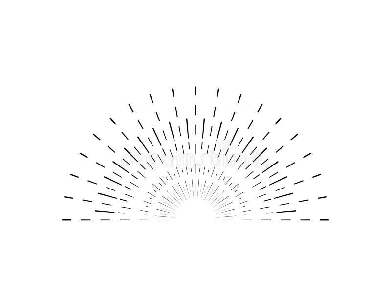 Αναδρομική μαύρη λεπτή γραμμή σημαδιών ηλιοφάνειας διάνυσμα ελεύθερη απεικόνιση δικαιώματος