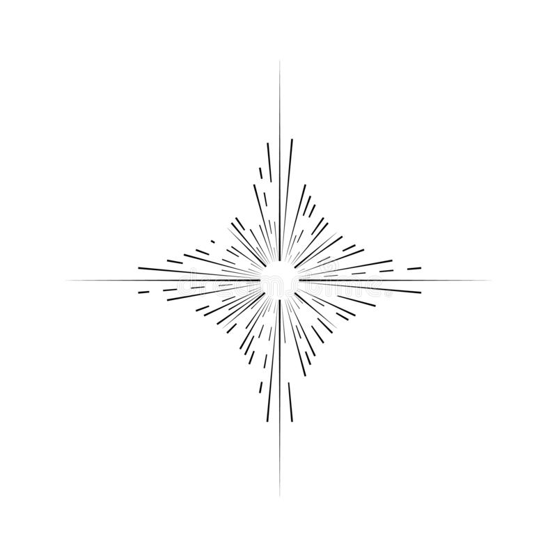 Αναδρομική μαύρη λεπτή γραμμή σημαδιών ηλιοφάνειας διάνυσμα διανυσματική απεικόνιση