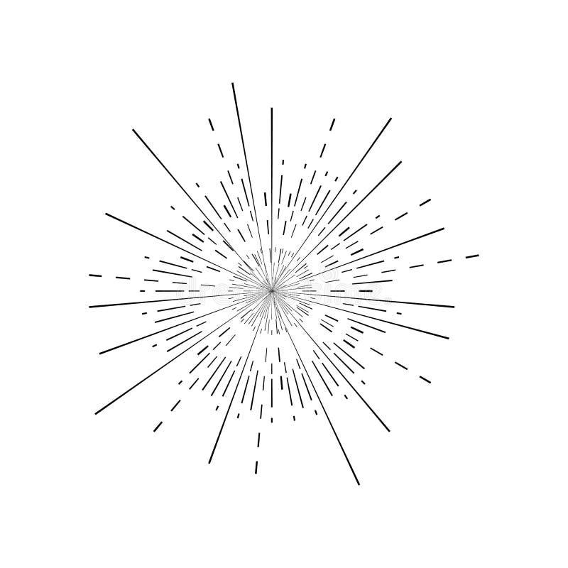 Αναδρομική μαύρη λεπτή γραμμή σημαδιών ηλιοφάνειας διάνυσμα απεικόνιση αποθεμάτων