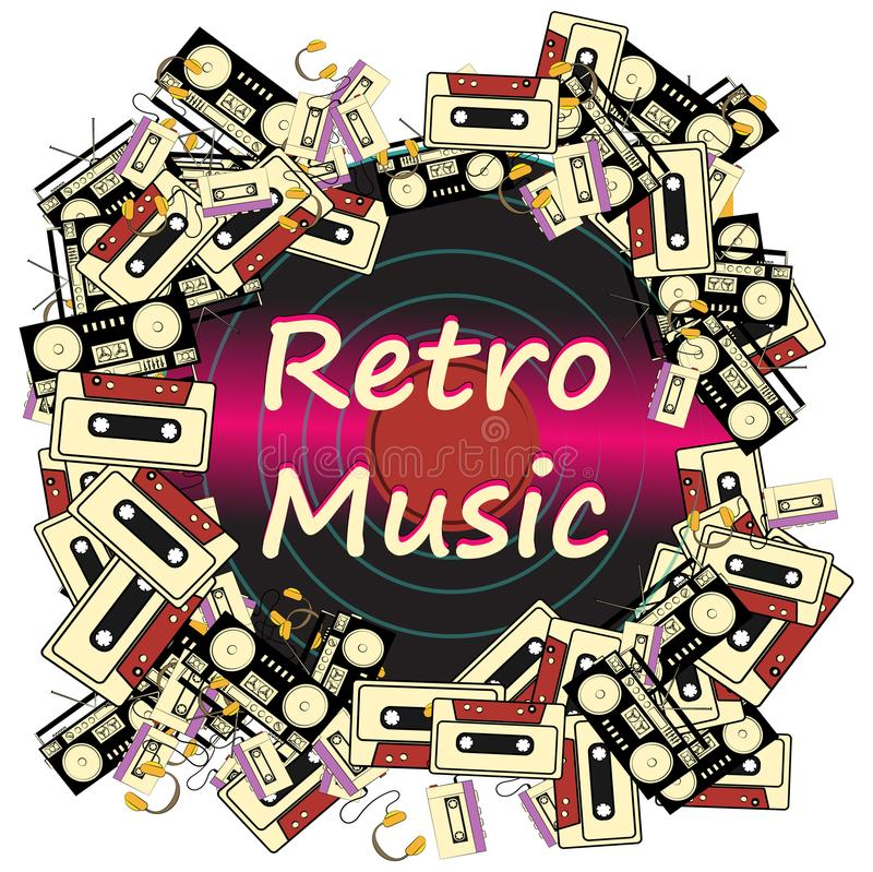 Αναδρομική μουσική επιγραφής πλαισίων σύστασης από τις ακουστικά κασέτες και το βινύλιο οργάνων καταγραφής κασετών ήχου συσκευών  ελεύθερη απεικόνιση δικαιώματος