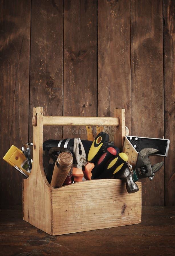 Αναδρομική ξύλινη εργαλειοθήκη στοκ εικόνες με δικαίωμα ελεύθερης χρήσης