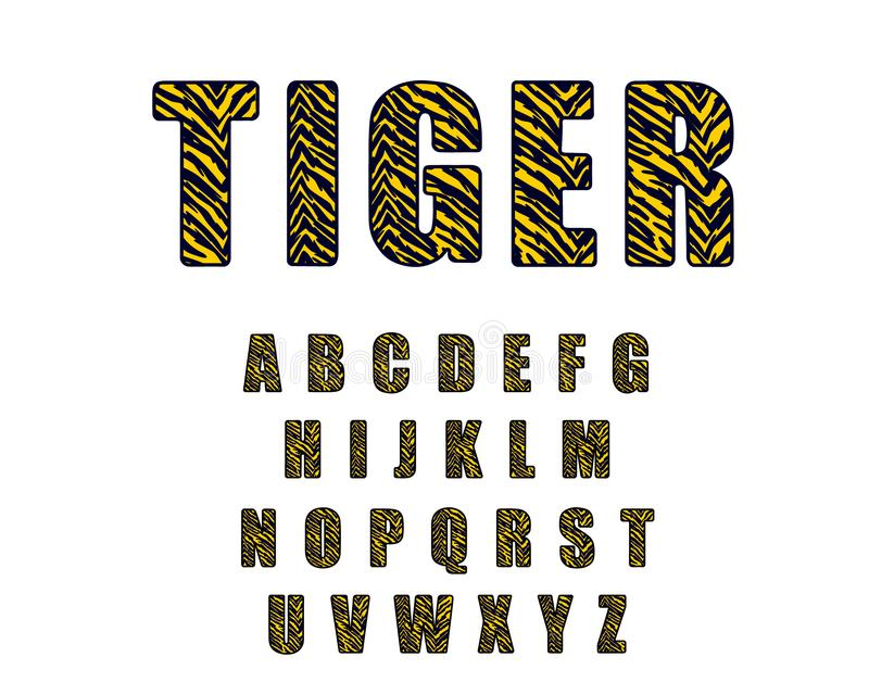 αναδρομική πηγή αλφάβητου της δεκαετίας του '90 Διανυσματική δεκαετία του '80 αλφάβητου τιγρών η εκλεκτής ποιότητας, η δεκαετία τ απεικόνιση αποθεμάτων