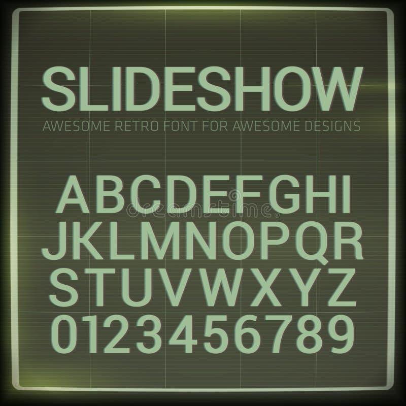 Αναδρομική πηγή με την επίδραση θαμπάδων Το διάνυσμα διαστρέβλωσε το αναδρομικό αλφάβητο οθόνης προβολέων φωτογραφικών διαφανειών απεικόνιση αποθεμάτων