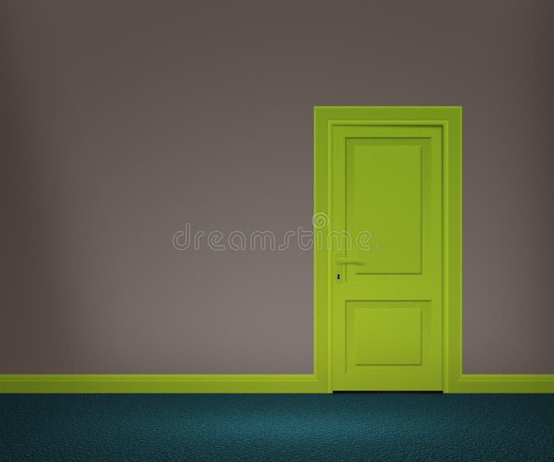 Αναδρομική πόρτα στον τοίχο στοκ εικόνα