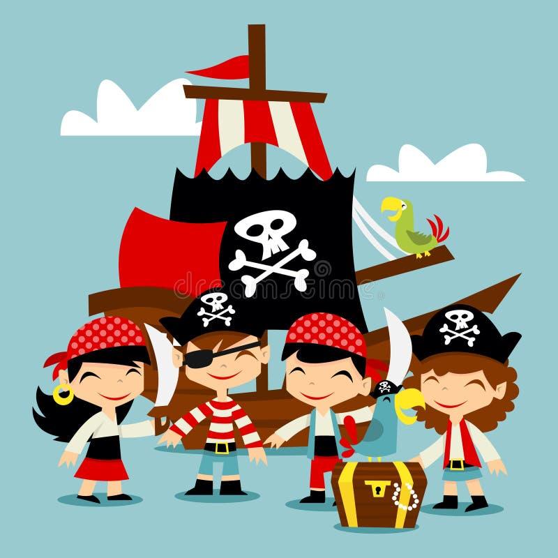 Αναδρομική σκηνή παιδιών περιπέτειας πειρατών απεικόνιση αποθεμάτων