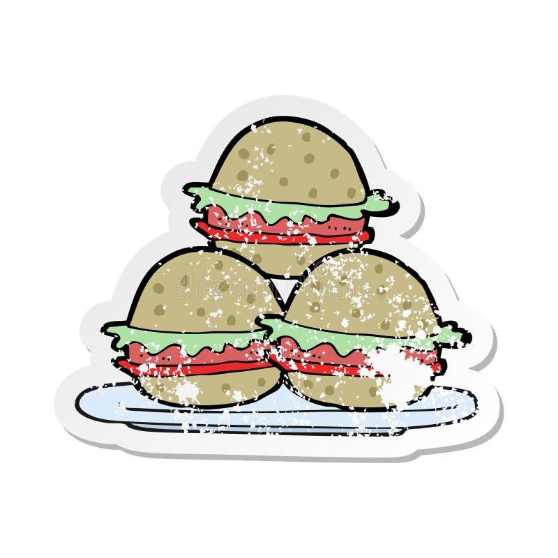 Αναδρομική στενοχωρημένη αυτοκόλλητη ετικέττα ενός πιάτου κινούμενων σχεδίων των burgers διανυσματική απεικόνιση
