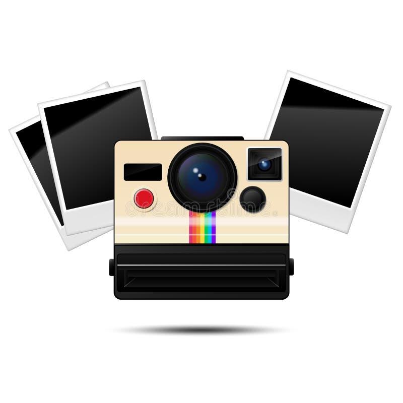 Αναδρομική στιγμιαία κάμερα και κενά πλαίσια φωτογραφιών, διανυσματική απεικόνιση απεικόνιση αποθεμάτων