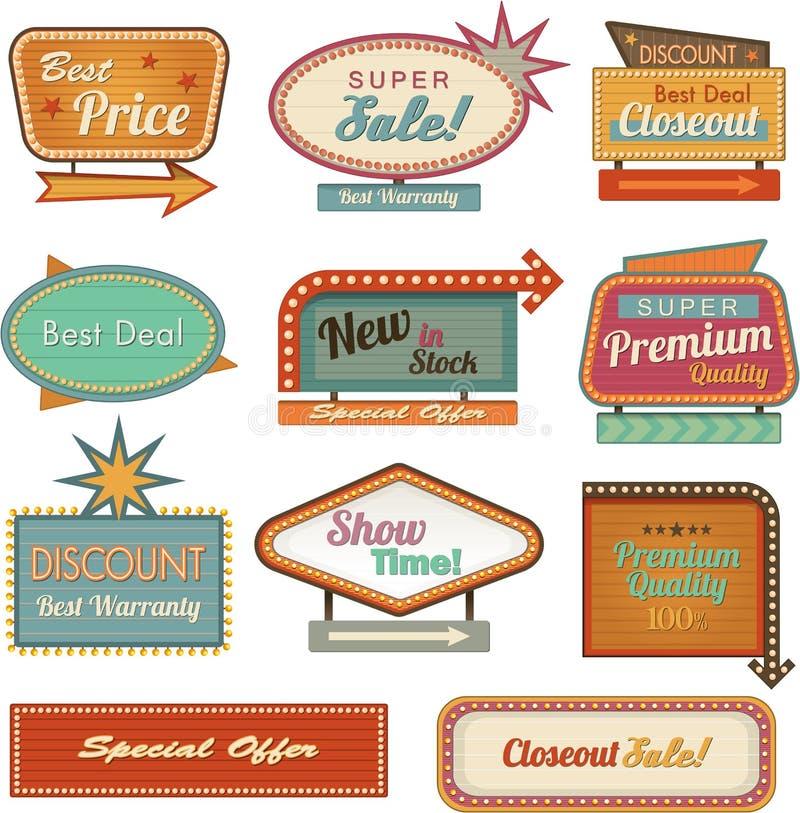 Αναδρομική συλλογή εμβλημάτων sign/ad διανυσματική απεικόνιση
