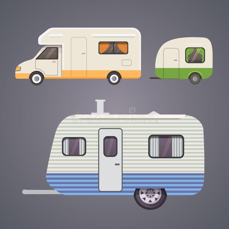 Αναδρομική συλλογή ρυμουλκών τροχόσπιτων τροχόσπιτο ρυμουλκών αυτοκινήτων Τουρισμός διανυσματική απεικόνιση