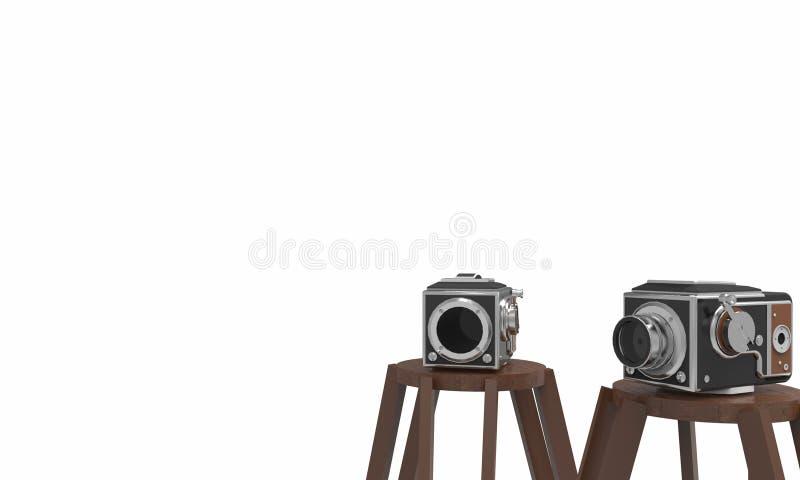 Αναδρομική ταινία καμερών και άσπρο υπόβαθρο απεικόνιση αποθεμάτων