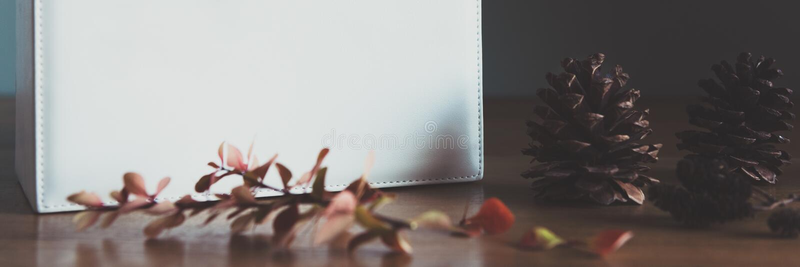 Αναδρομική, φυσική και απλή εγχώρια διακόσμηση Χριστουγέννων με το όμορφο φως παραθύρων Χριστουγεννιάτικο δώρο σε έναν πίνακα Ένν στοκ φωτογραφία με δικαίωμα ελεύθερης χρήσης