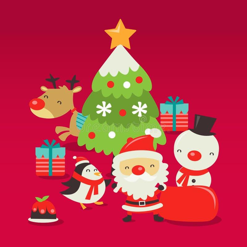 Αναδρομική χαριτωμένη σκηνή Χριστουγέννων διανυσματική απεικόνιση