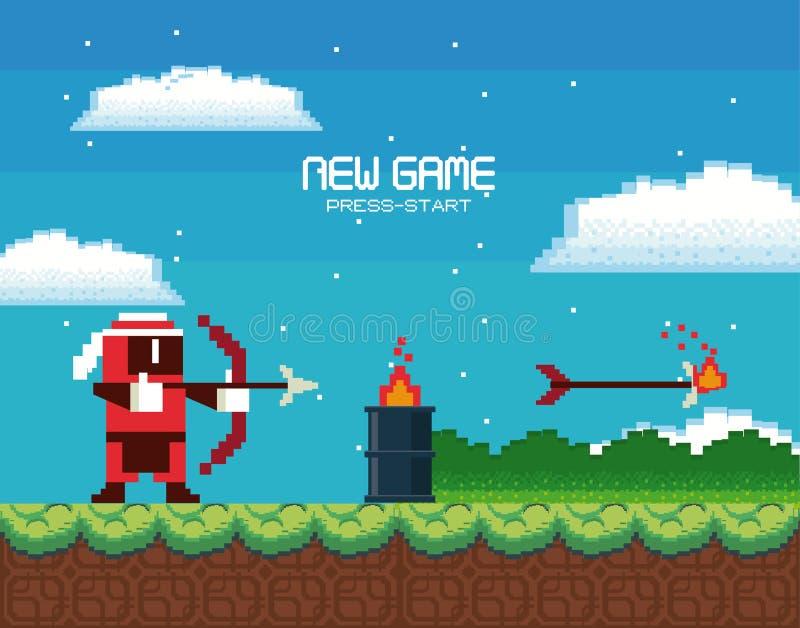 Αναδρομική videogame κάρτα υποβάθρου οθόνης arcade απεικόνιση αποθεμάτων