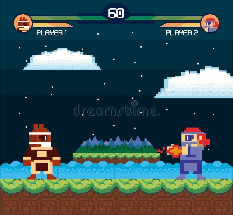 Αναδρομική videogame κάρτα υποβάθρου οθόνης arcade διανυσματική απεικόνιση