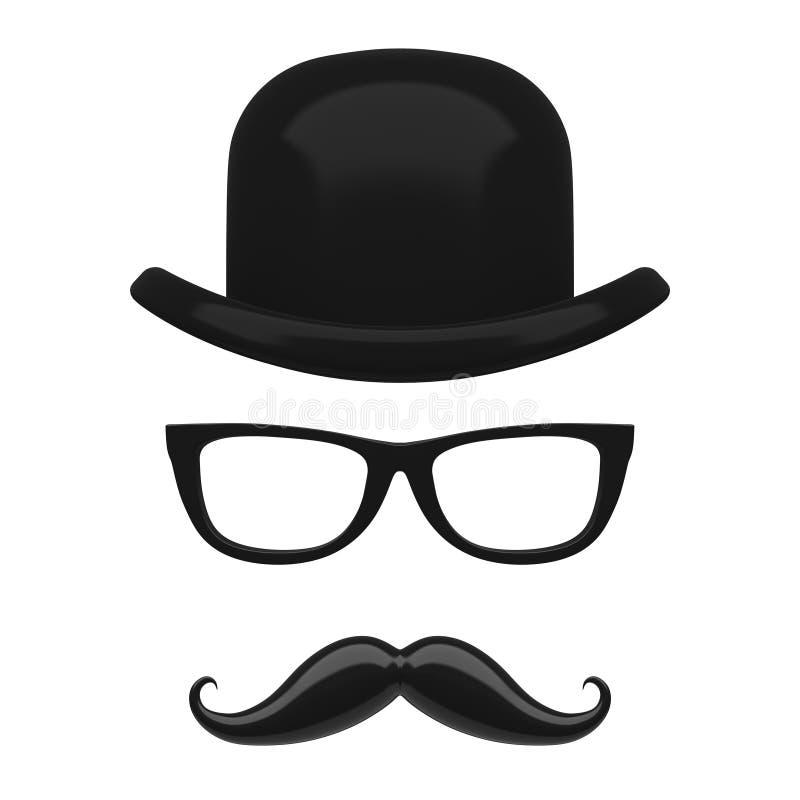 Αναδρομικοί σφαιριστής της Ιταλίας, Mustaches και εικονίδιο γυαλιών τρισδιάστατη απόδοση ελεύθερη απεικόνιση δικαιώματος