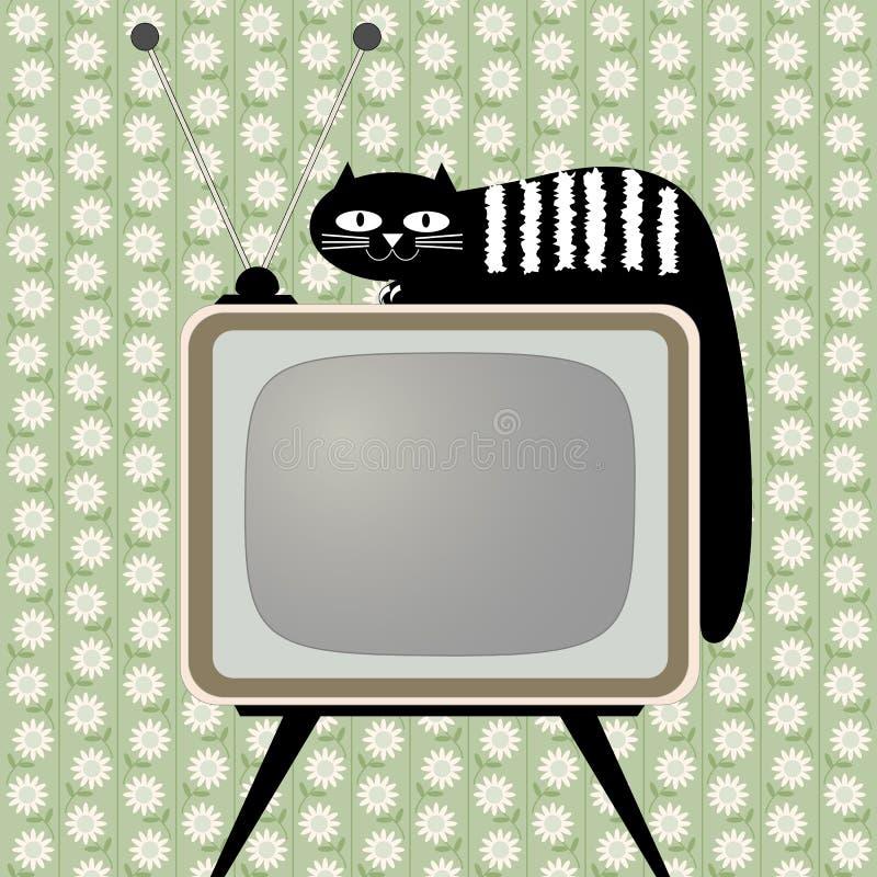Αναδρομικός-ορισμένος δέκτης τηλεοράσεων με τη γάτα ελεύθερη απεικόνιση δικαιώματος