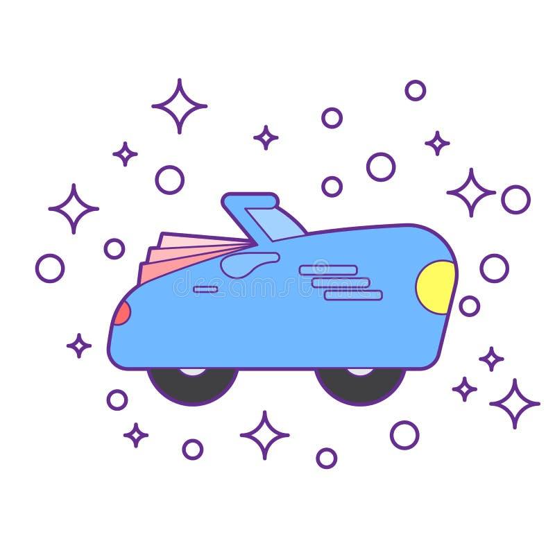 Αναδρομικός τρύγος αυτοκινήτων που απομονώνεται Πλάγια όψη Διανυσματική επίπεδη απεικόνιση ύφους Παιχνίδι κατσικιών διανυσματική απεικόνιση