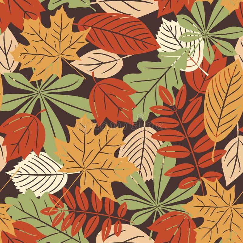 Αναδρομικό άνευ ραφής πρότυπο με τα φύλλα φθινοπώρου απεικόνιση αποθεμάτων