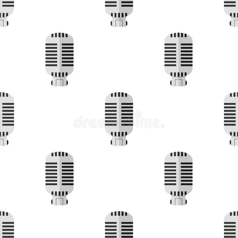 Αναδρομικό άνευ ραφής σχέδιο εικονιδίων μικροφώνων διανυσματική απεικόνιση