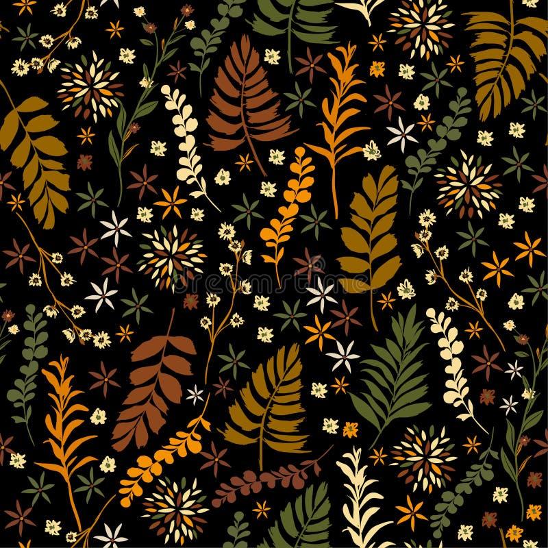 Αναδρομικό άνευ ραφής σχέδιο λουλουδιών ελευθερίας, ευγενής καθιερώνων τη μόδα small-s διανυσματική απεικόνιση