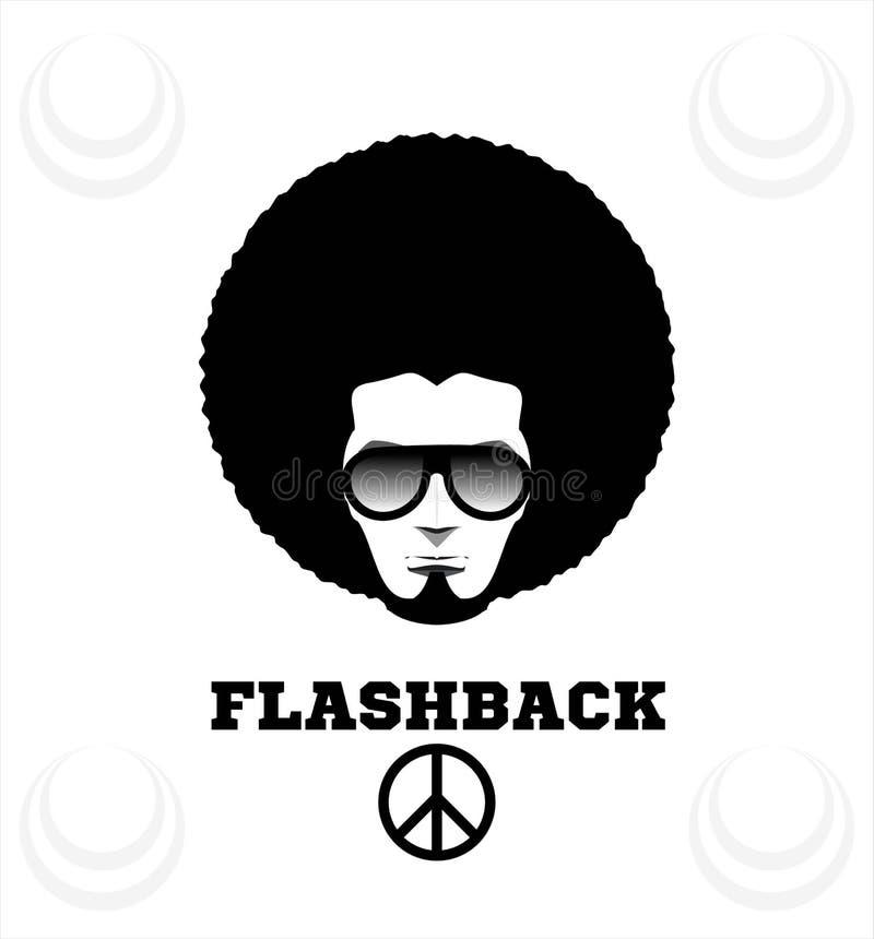 Αναδρομικό άτομο το 1970 το s hairstyle Σγοuρός, 70 \ «s απεικόνιση αποθεμάτων