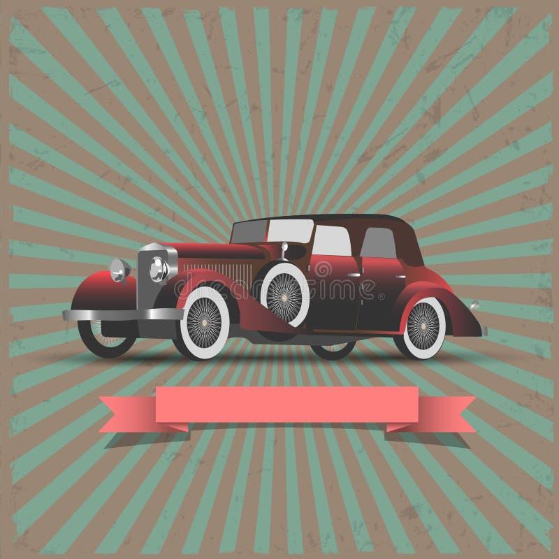 Αναδρομικό αυτοκίνητο με το κορδέλλα-έμβλημα ελεύθερη απεικόνιση δικαιώματος