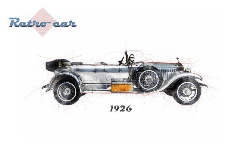 Αναδρομικό αυτοκίνητο στο ύφος σκίτσων διανυσματική απεικόνιση