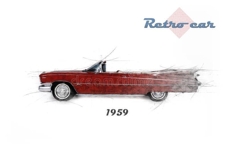 Αναδρομικό αυτοκίνητο στο ύφος σκίτσων απεικόνιση αποθεμάτων