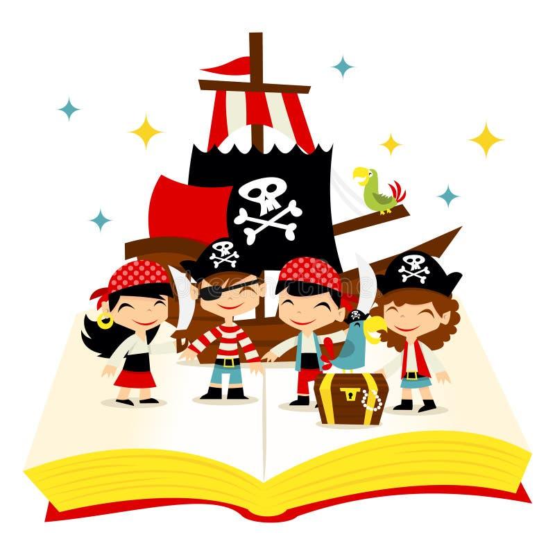 Αναδρομικό βιβλίο ιστορίας περιπέτειας πειρατών διανυσματική απεικόνιση