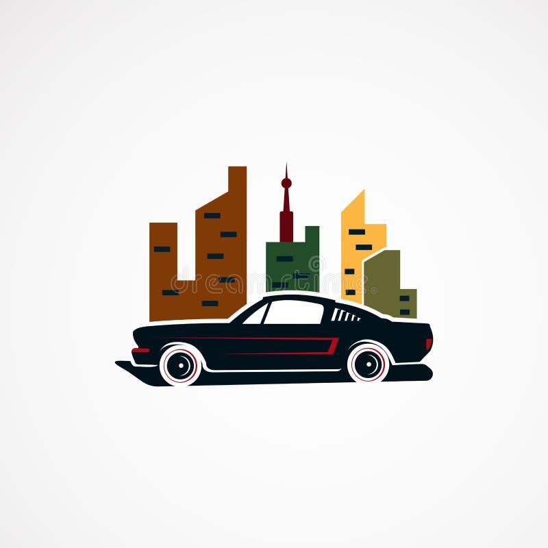 Αναδρομικό διάνυσμα, εικονίδιο, στοιχείο, και πρότυπο λογότυπων έννοιας αυτοκινήτων πόλεων για την επιχείρηση διανυσματική απεικόνιση