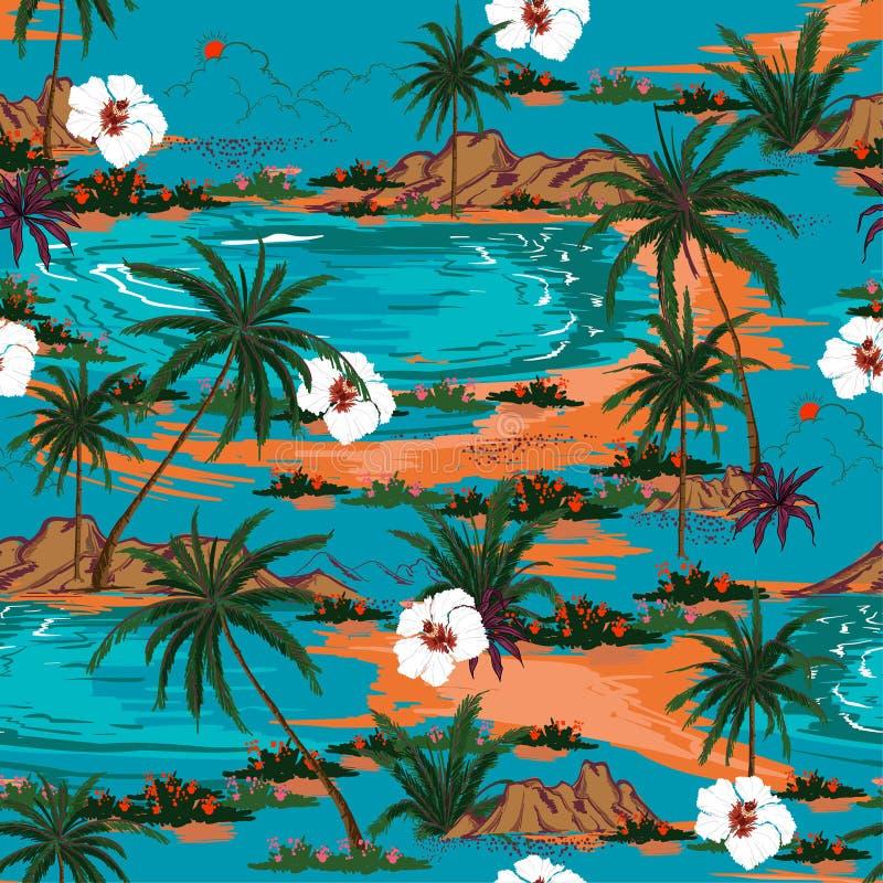 Αναδρομικό διάνυσμα σχεδίων νησιών της θερινής Χαβάης άνευ ραφής Τοπίο W απεικόνιση αποθεμάτων