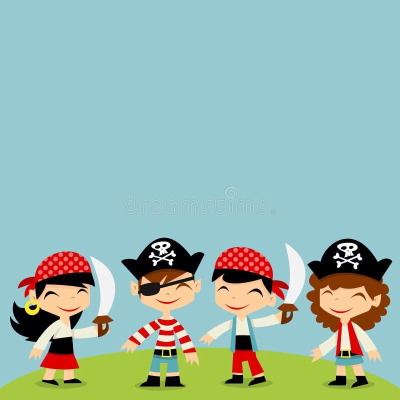 Αναδρομικό διάστημα αντιγράφων παιδιών περιπέτειας πειρατών ελεύθερη απεικόνιση δικαιώματος