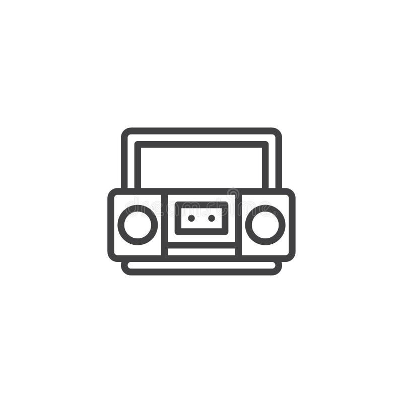 Αναδρομικό εικονίδιο γραμμών οργάνων καταγραφής ταινιών κασετών απεικόνιση αποθεμάτων