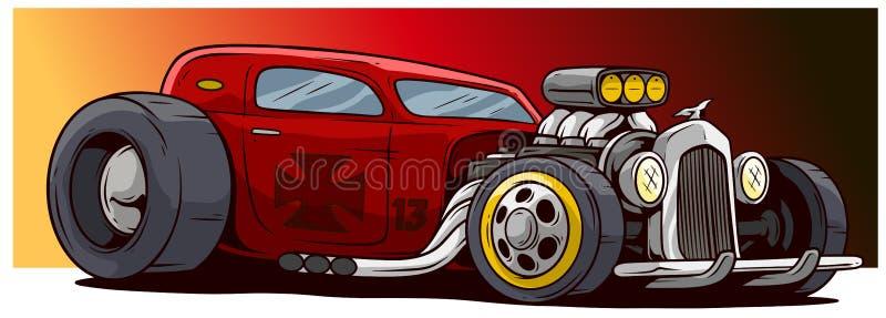 Αναδρομικό εκλεκτής ποιότητας κόκκινο κινούμενων σχεδίων - καυτό αθλητικό αγωνιστικό αυτοκίνητο ράβδων διανυσματική απεικόνιση