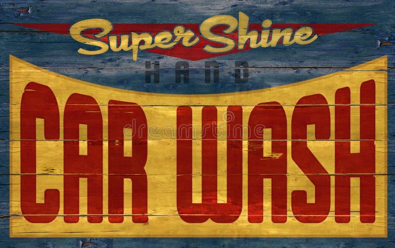 Αναδρομικό εκλεκτής ποιότητας ξύλινο σημάδι πλυσίματος αυτοκινήτων στοκ φωτογραφίες με δικαίωμα ελεύθερης χρήσης