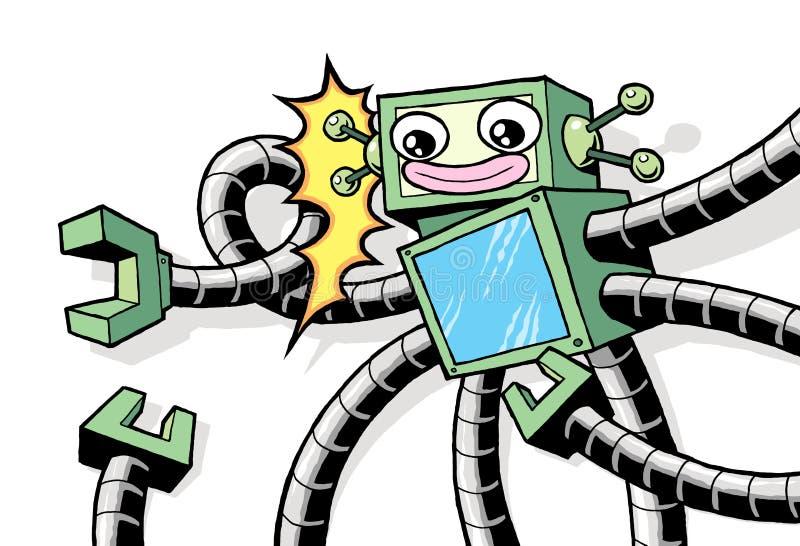 Αναδρομικό εκλεκτής ποιότητας ρομπότ ύφους με τα ρομποτικά όπλα ελεύθερη απεικόνιση δικαιώματος