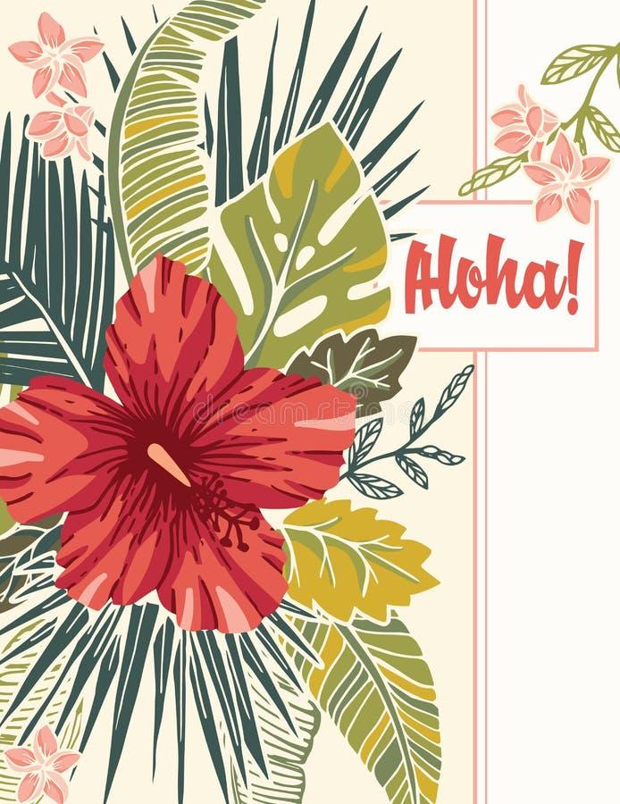 Αναδρομικό εκλεκτής ποιότητας τολμηρό ζωηρόχρωμο τροπικό εξωτικό φύλλωμα, Hibiscus Floral διανυσματική ευχετήρια κάρτα δώρων αλόη απεικόνιση αποθεμάτων
