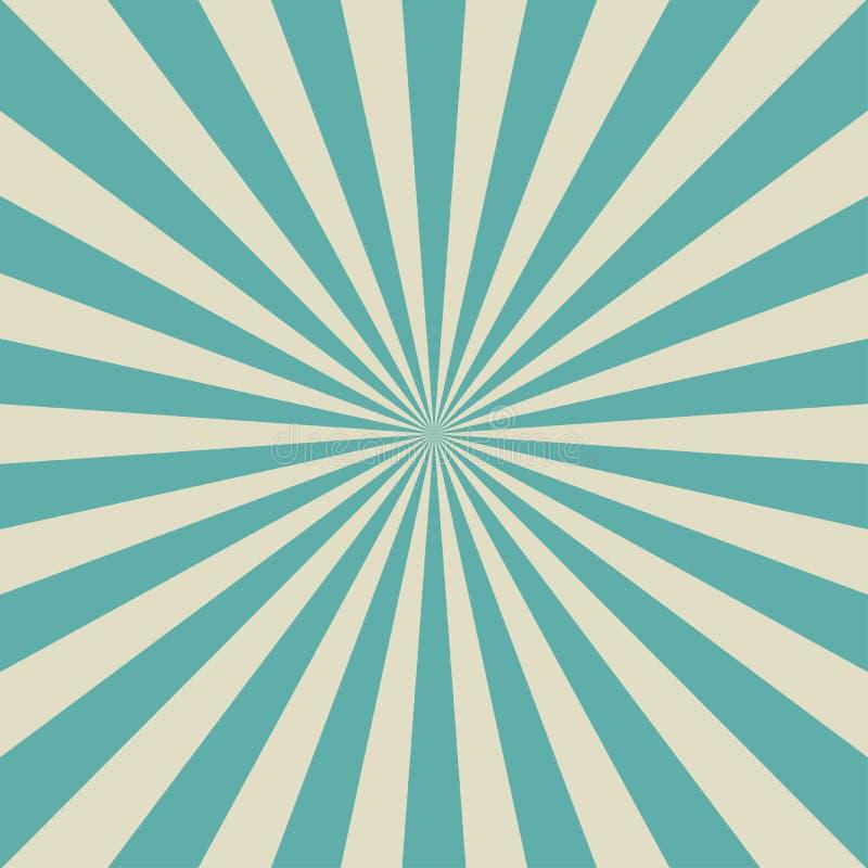Αναδρομικό εξασθενισμένο υπόβαθρο φωτός του ήλιου Μπλε και μπεζ υπόβαθρο έκρηξης χρώματος Aquamarine Διάνυσμα φαντασίας διανυσματική απεικόνιση