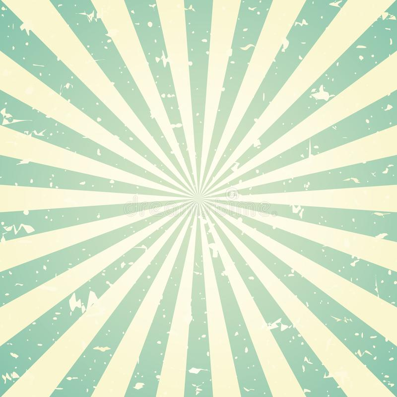 Αναδρομικό εξασθενισμένο grunge υπόβαθρο φωτός του ήλιου πράσινο και μπεζ υπόβαθρο έκρηξης χρώματος επίσης corel σύρετε το διάνυσ διανυσματική απεικόνιση