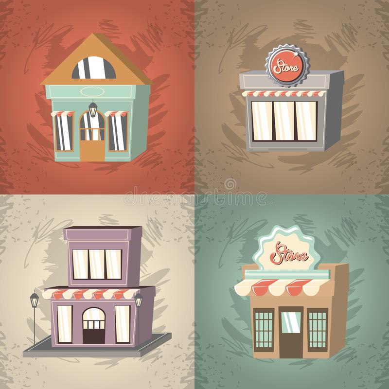 Αναδρομικό εξωτερικό σύνολο προσόψεων οικοδόμησης καταστημάτων ελεύθερη απεικόνιση δικαιώματος